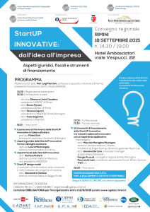 Convegno regionale: StartUP innovative 2015 / 18-09-2015 Rimini / locandina