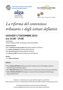 Locandina contenzioso tributario e istituti deflattivi: convegno Rimini 17-12-2015 - UGDCEC - AIGA