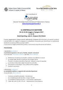 Ugdcec RN | Corso: Il controllo di gestione | Rimini maggio-giugno 2017 | locandina